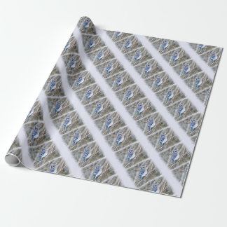 Blue Jay in Snow Christmas Holiday Wrapping Paper
