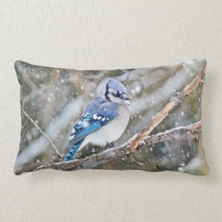 Blue Jay in Snowstorm Lumbar Pillow