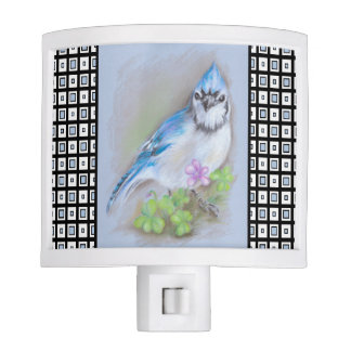 Blue Jay in Spring with Oxalis on Square Pattern Night Lites