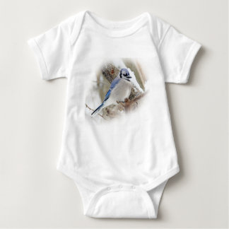 Blue Jay in Winter Snow Baby Bodysuit