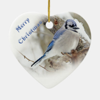 Blue Jay in Winter Snow Ceramic Ornament