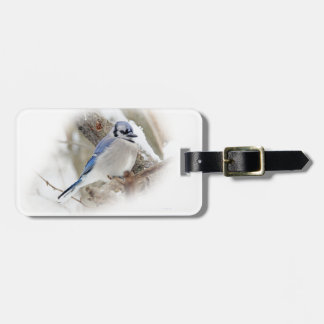 Blue Jay in Winter Snow Luggage Tag