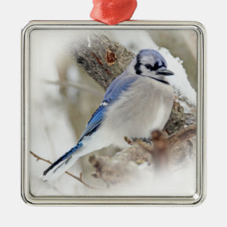 Blue Jay in Winter Snow Metal Ornament