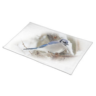 Blue Jay in Winter Snow Placemat