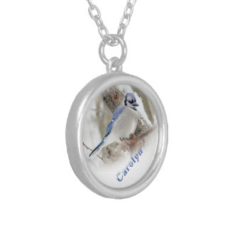 Blue Jay in Winter Snow Silver Plated Necklace