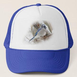 Blue Jay in Winter Snow Trucker Hat