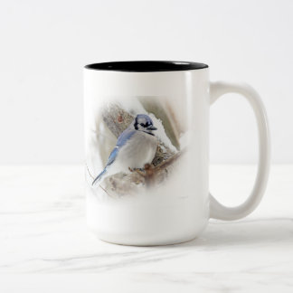 Blue Jay in Winter Snow Two-Tone Coffee Mug
