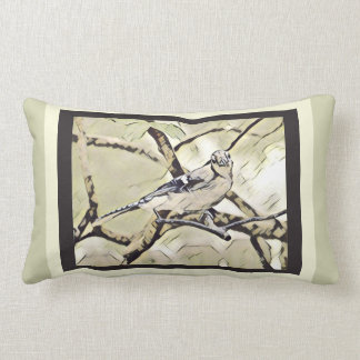 Blue Jay on branch; moss/snow/brown Lumbar Pillow