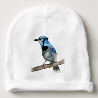 Blue Jay on Branch Watercolor Painting Baby Beanie