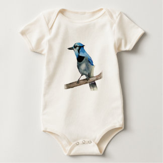 Blue Jay on Branch Watercolor Painting Baby Bodysuit