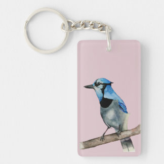 Blue Jay on Branch Watercolor Painting Keychain