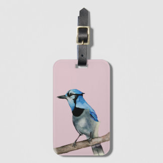 Blue Jay on Branch Watercolor Painting Luggage Tag