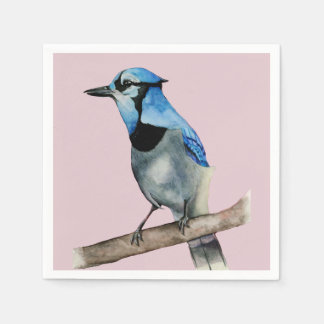 Blue Jay on Branch Watercolor Painting Paper Napkin