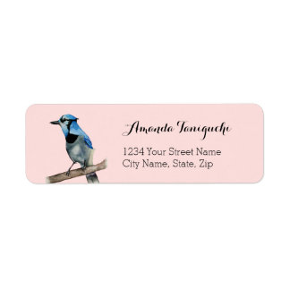Blue Jay on Branch Watercolor Painting Return Address Label