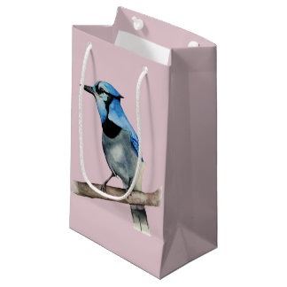 Blue Jay on Branch Watercolor Painting Small Gift Bag