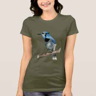 Blue Jay on Branch Watercolor Painting T-Shirt
