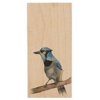 Blue Jay on Branch Watercolor Painting Wood USB Flash Drive