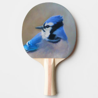 Blue Jay Painting - Original Bird Art Ping Pong Paddle