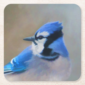 Blue Jay Painting - Original Bird Art Square Paper Coaster
