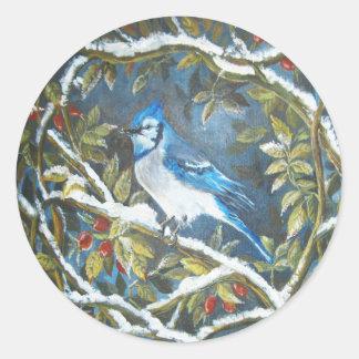 Blue jay painting round sticker