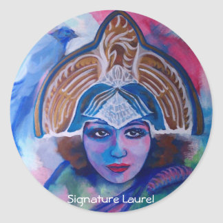 Blue Jay Priestess by Signature Laurel Classic Round Sticker