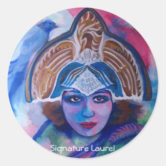 Blue Jay Priestess by Signature Laurel Round Sticker