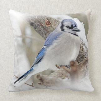 Blue Jay Songbird in Snow Throw Pillow