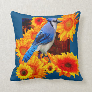 BLUE JAY & SUNFLOWERS WILDLIFE ART THROW PILLOW