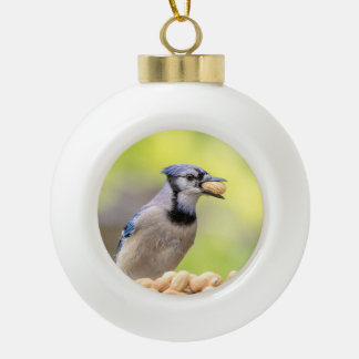 Blue jay with a peanut ceramic ball christmas ornament