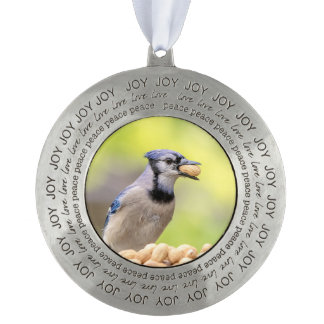 Blue jay with a peanut pewter ornament