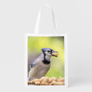 Blue jay with a peanut reusable grocery bags