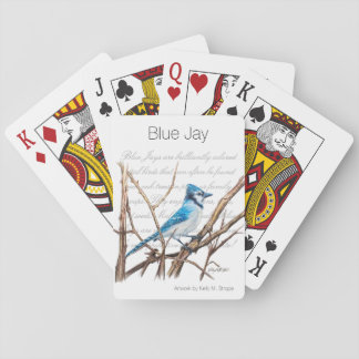 Blue Jay Word Art Bird Playing Cards