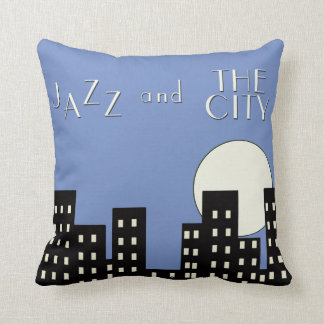 Blue Jazz and the City Throw Pillow