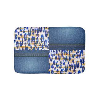 Blue Jean Animal Pattern Print Design Bathroom Mat