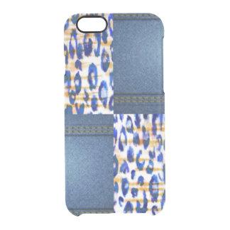 Blue Jean Animal Pattern Print Design Clear iPhone 6/6S Case