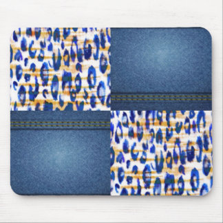 Blue Jean Animal Pattern Print Design Mouse Pad