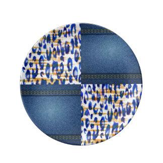 Blue Jean Animal Pattern Print Design Plate