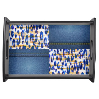 Blue Jean Animal Pattern Print Design Serving Tray