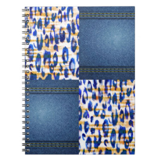 Blue Jean Animal Pattern Print Design Spiral Note Books