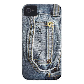 Blue Jean Denim Pocket - Add your name or initials iPhone 4 Cases