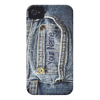 Blue Jean Denim Pocket - Add your name or initials iPhone 4 Cover
