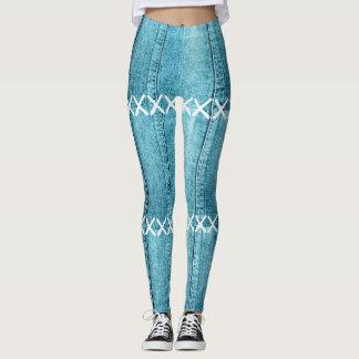 Blue Jean Denim & stitches Print Leggings