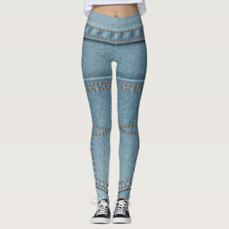Blue Jean Pattern Design Leggings