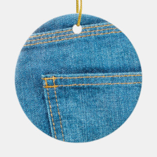 Blue Jeans Back Pocket Ceramic Ornament