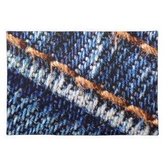 Blue jeans closeup texture. placemat