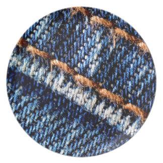 Blue jeans closeup texture. plate