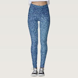 Blue Jeans Fashion Denim Look Leggings