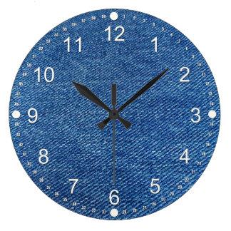 Blue Jeans Large Clock