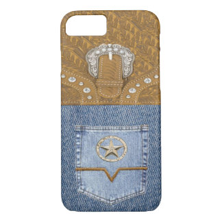 """""""Blue Jeans & Leather"""" Western iPhone 7 case"""