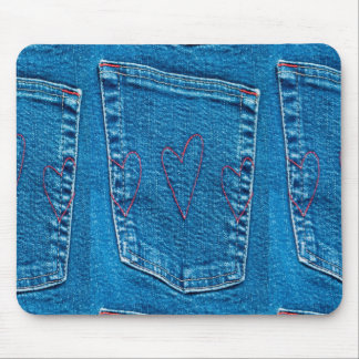 Blue Jeans Pocket with Embroidered Hearts Mouse Pad